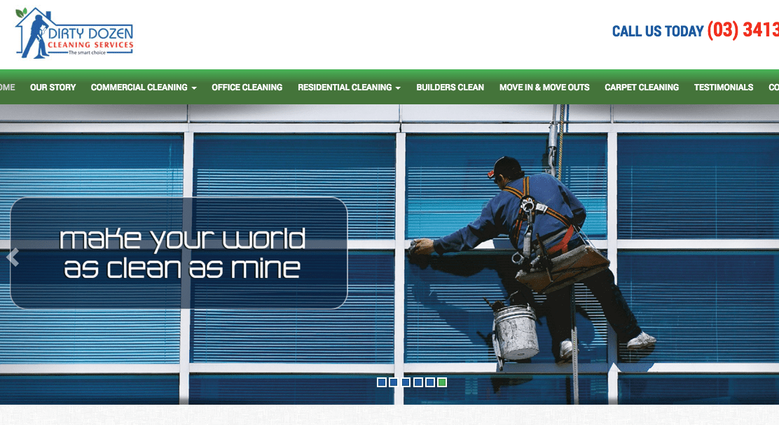 Dirty Dozen Cleaning Services' Homepage