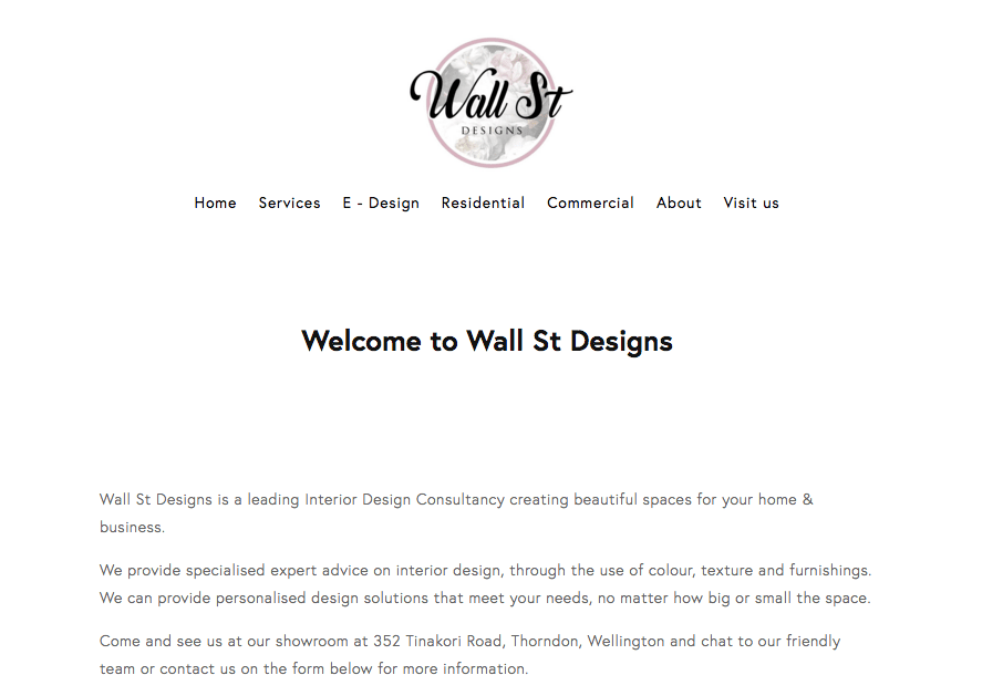 Wall St Designs' Homepage