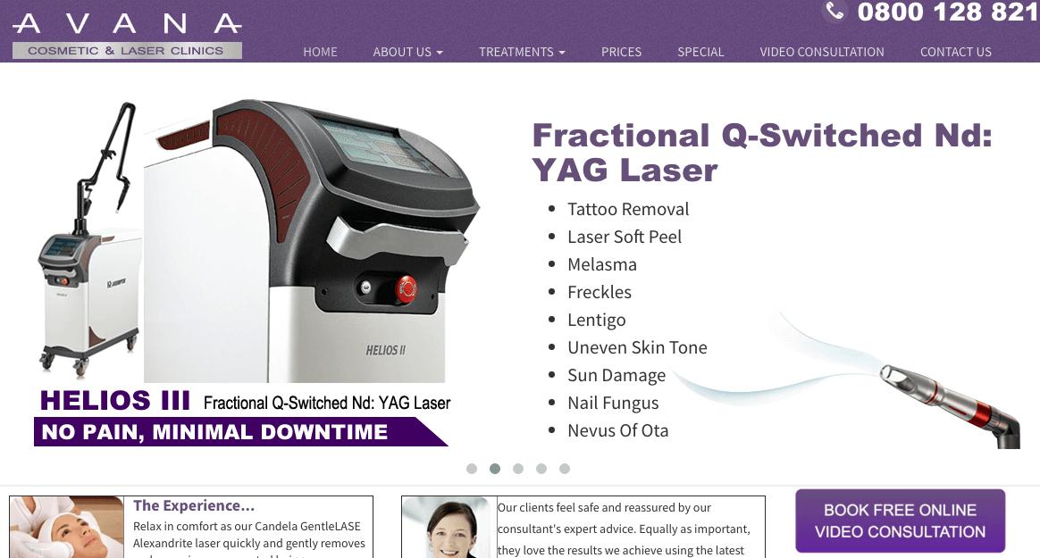 Avana Cosmetic & Laser Clinics' Homepage