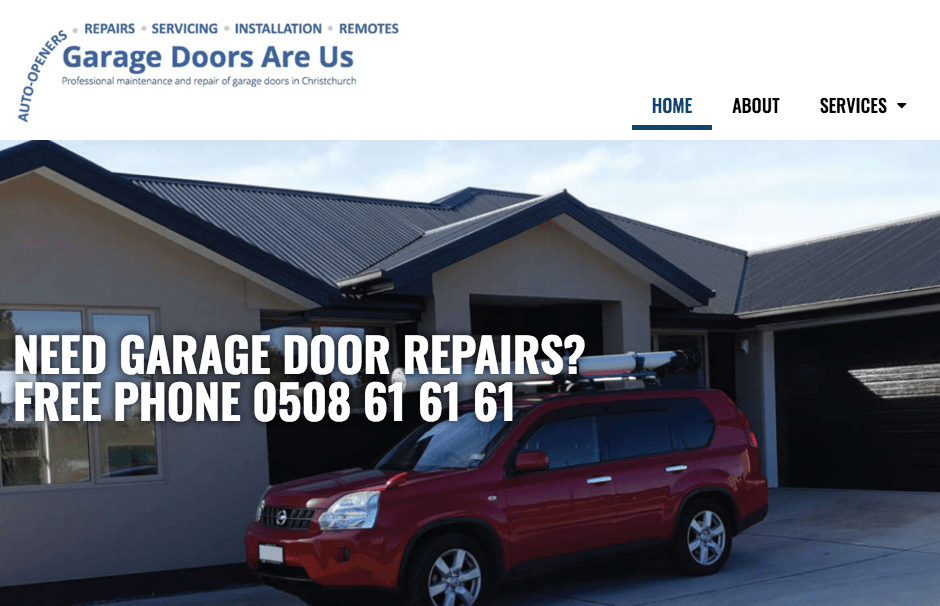 Garage Doors Are Us' Homepage
