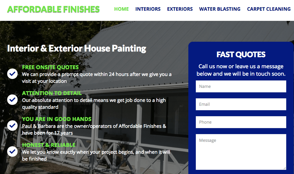 Affordable Finishes' Homepage