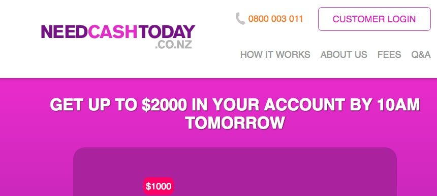 Need Cash Today's Homepage